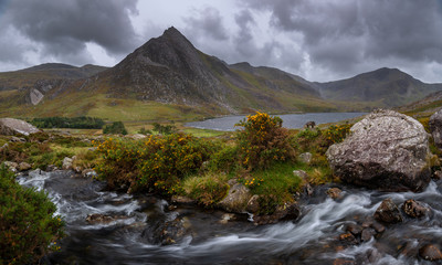 Panorama of Lake Llyn Ogwen and Tryfan Mountain, Ogwen Valley, Wales, United Kingdom