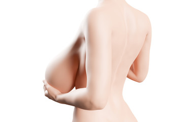 Woman is holding her big breasts - Back Pain concept