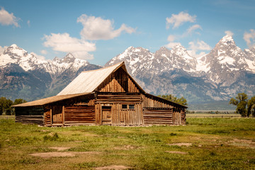 old wooden barn in the mountains