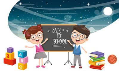 Vector Illustration Of Student Children Background