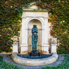 KRAKOW, POLAND - OCTOBER 18, 2018: The most famous sculptural monuments of old Krakow at autumn.
