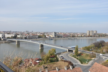 Cityscape in Novi Sad, Serbia. Old and new, seen from the Petrovaradin fortress height.