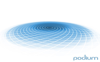 Round blue platform isolated on a white background Wall mural