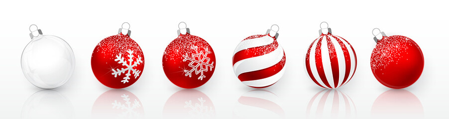 Zelfklevend Fotobehang Bol Transparent and Red Christmas ball with snow effect set. Xmas glass ball on white background. Holiday decoration template. Vector illustration