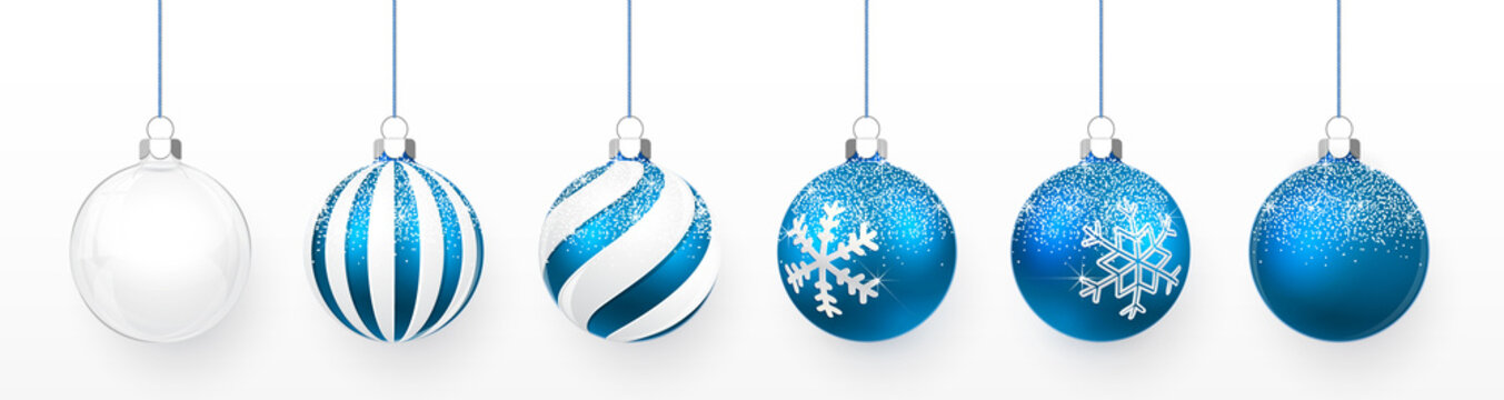 Transparent and Blue Christmas ball with snow effect set. Xmas glass ball on white background. Holiday decoration template. Vector illustration