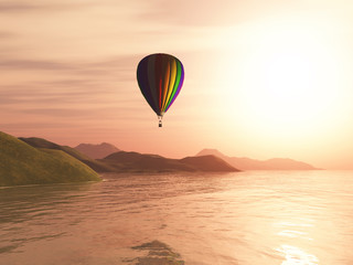 3D hot air balloon against sunset landscape