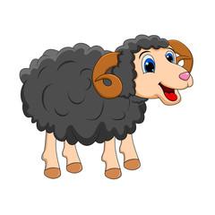 cartoon black ram design isolated on white background