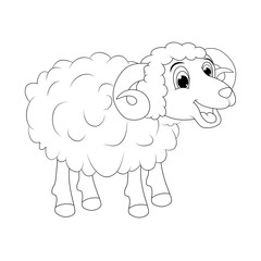 cartoon outline ram design isolated on white background