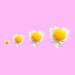 eggs concept, pop minimal style on pink vibrant background