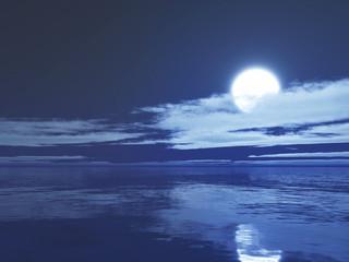 3D moonlit ocean