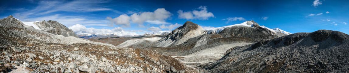 Panorama view on the Snowman Trek Bhutan near Rinchen Zoe La (5,200m)