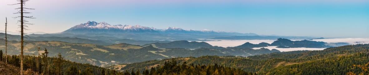 Morning panorama of Tatra Mountains in autumn, Poland Wall mural