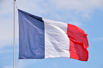 Close up flag of France waving in the wind