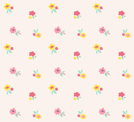 Ditsy floral vector pattern. Cute small flowers seamless background. Vintage print.