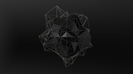 3D illustration of a black crystal of irregular shape, low polygonal abstract figure, on a black background. Futuristic design. 3D rendering