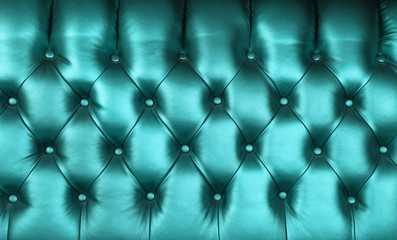 Teal blue leather capitone background texture