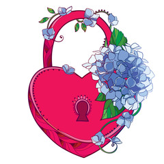 Vector red padlock heart with bouquet of outline Hydrangea or Hortensia flower bunch and ornate leaf in pastel blue isolated on white background. Contour garden plant Hydrangea for romantic design.