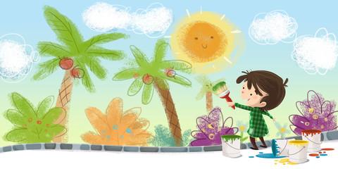 niño pintando con brocha un mural