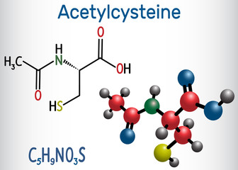 Acetylcysteine (N-acetylcysteine, NAC) drug molecule. Structural chemical formula and molecule model