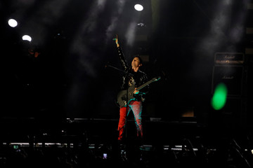 British group Muse performs ahead of the MTV European Music Awards at San Mames stadium in Bilbao