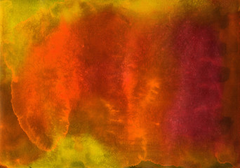 Background in brown and orange tones painted in watercolor by hand on wet textured paper