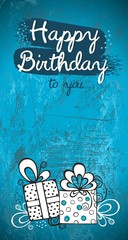 Birthday greeting card design, turquoise blue modern background