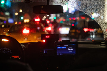 Interior view of taxi cab stuck in New York traffic