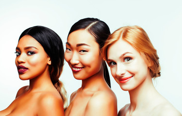 different nation woman: asian, african-american, caucasian toget