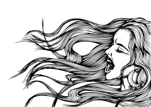 Hand drawn vector illustration. Portrait of a young screaming woman with flying long hair isolated on white background. Comic style