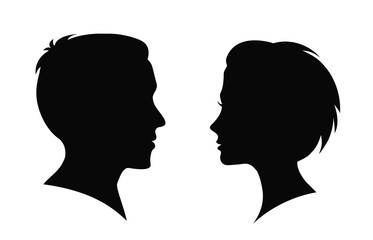 Man and woman silhouette. Face to face – vector