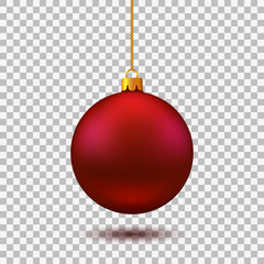 Fotobehang Bol Red Christmas ball. New year toy - vector