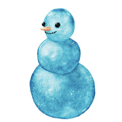 Hand drawn watercolor blue frosty snowman isolated at white background