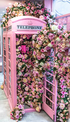 pink phone booth  and colourful flowers  in London