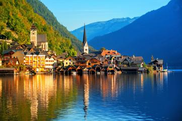 Traditional wooden village Hallstatt on Lake Hallstatt in european Alps, Austria