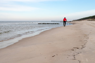 Autumn beach by the sea in central Europe. Baltic sea coast.