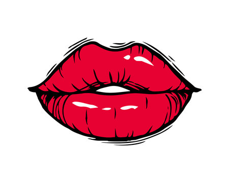 Hand drawn female red lips isolated on white background.