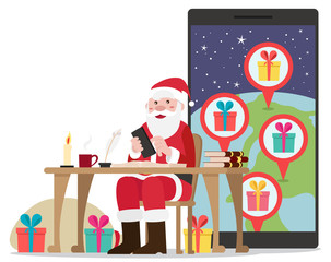 Smiling Santa sitting in his chair planning his road with presents for all good kids - vector flat design illustration