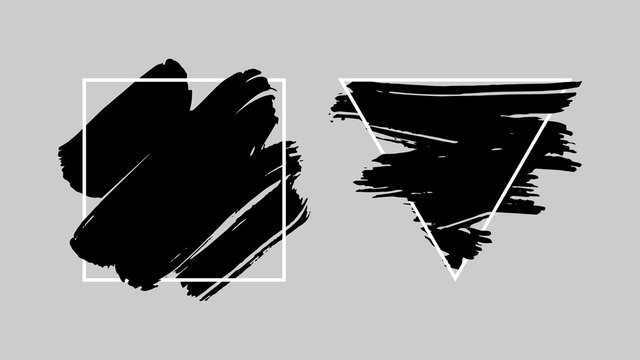 Abstract grunge background template. Black brush stroke over triangle frame and over square frame.