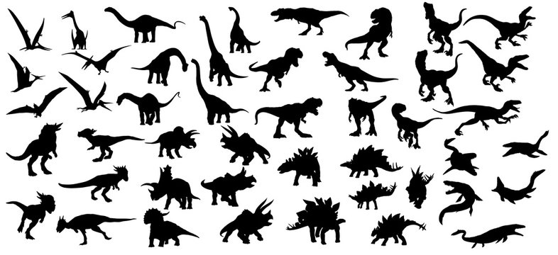 Dinosaur silhouettes set. Vector illustration isolated on white background
