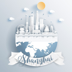 Fototapete - Shanghai, China landmarks on earth in paper cut style vector illustration.