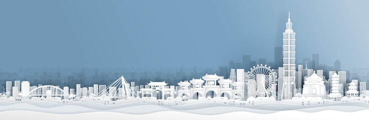 Fototapete - Panorama view of Taipei skyline with world famous landmarks in paper cut style vector illustration