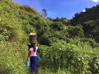Life in the Philippine jungle, woman carrying heavy pot on her head