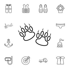 Traces of a bear icon. Detailed set of diving, fishing and hunting icons. Premium quality graphic design icon. One of the collection icons for websites, web design, mobile app