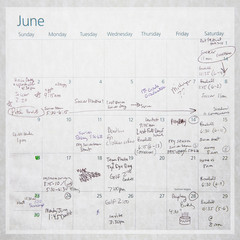 Old Calendar with writing and scribbles, childrens sporting events and activities for June