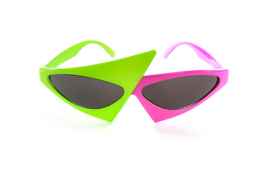 Pink and green trendy hip hop asymmetrical glasses