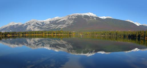 Beauvert lake landscape in Jasper national park