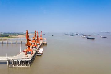 aerial view of cargo wharf in yangtze river