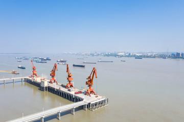 aerial view of wharf cranes on yangtze river