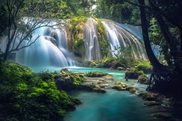 Fototapeten Wasserfalle Cascadas de Agua Azul