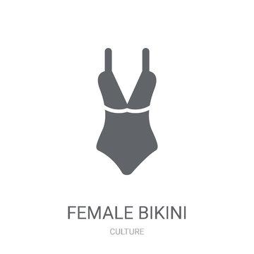 Female bikini piece icon. Trendy Female bikini piece logo concept on white background from Culture collection